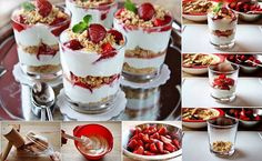 yummy! yogurt strawberry granola parfait. step by step