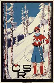vintage ski poster by Honin CSR c. Winter Fun, Winter Sports, Winter Night, French Images, Vintage Ski Posters, Nordic Skiing, Winter Images, Vintage Graphic Design, Retro Illustration