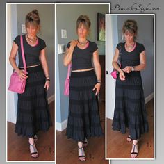 #FashionOver40 long flowing skirt, tight t-shirt accent of pink.