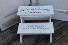 French Typography Step Stool / Bathroom Step Stool / Wooden Step Stool / Two…