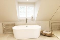 Bathroom Window Shutters in Ascot, Berkshire and Surrey House, House Shutters, Eden House, Clawfoot Bathtub, Bathroom Windows, Corner Bathtub, Bathroom, Cleaning Shutters, Bathtub