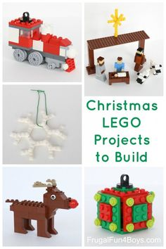 Five Christmas LEGO Projects to Build With Instructions Train ornament nativity set snowflake ornament Rudolph and cube ornament The post has links to more Christmas ide. Lego Christmas Ornaments, Christmas Projects, Kids Christmas, Christmas Decorations, Christmas Stuff, Lego Christmas Train, Christmas Music, Reindeer Christmas, Christmas Activities
