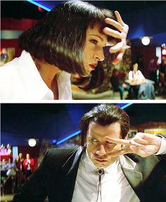 Uma Thurman and John Travolta in Pulp Fiction (Quentin Tarantino, Quentin Tarantino, Tarantino Films, Old Movies, Great Movies, Indie Movies, John Travolta Pulp Fiction, Citations Film, Pier Paolo Pasolini, Marvin