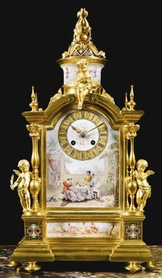 A LOUIS XVI STYLE GILT-BRONZE AND ENAMEL DECORATED MANTLE CLOCK, PARIS, LAST QUARTER 19TH CENTURY,FIRM OF LE ROY ET FILS 1828-–1898