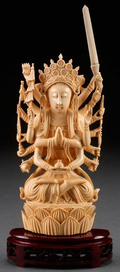 A FINE CHINESE CARVED IVORY FIGURE OF GUAN YIN : Lot 510 ✖️More Pins Like This One At FOSTERGINGER @ Pinterest ✖️Fosterginger.Pinterest.Com.✖️No Pin Limits✖️