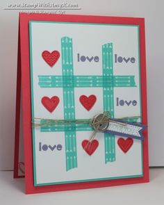Tic-Tac-Toe Washi Tape Valentine - Stampin' Up!