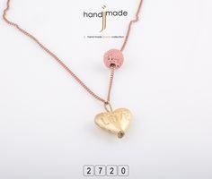 Κολιέ με μακρυά αλυσίδα , μπάλα λάβα και χρυσή καρδιά. Women's Necklaces, Handmade Jewelry, Gold Necklace, Fashion, Moda, Gold Pendant Necklace, Necklaces For Women, Handmade Jewellery, Fashion Styles