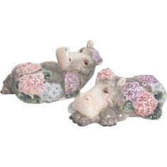 Fritz and Floyd Fantasy Hippos with Flowers Salt & Pepper Shakers.