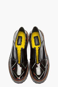 KENZO Black Patent Leather Lug Soled Cut-Out Shoes