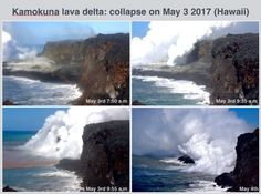 Lava bench collapses on the Big Island in a matter of minutes (May 2017).   Right now seeing the lava enter the ocean requires a 8 mile excursion (hiking or biking), but it is also possible to see the lava by boat or by helicopter.  <3 Big Island