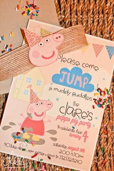 Peppa Pig Invitation | Kids Birthday Invitation by deesignsbyDee on Etsy https://www.etsy.com/listing/243970228/peppa-pig-invitation-kids-birthday