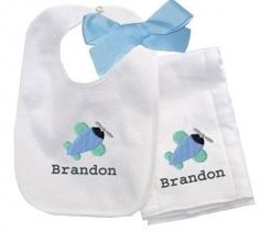 Airplane Bib and Burp Pad Gift Set, Personalized