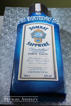 Bombay Sapphire #14Food  Bombay Sapphire is a popular libation and so is this liquor bottle cake.  Iced in fondant, the cake is decorated with an edible image to make it look like the real thing.  Treat your favorite gin lover to this fun design.