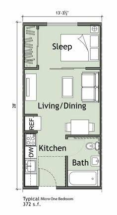 tiny Small 1 bedroom apartment WANTED: Green Thumbs. Small Apartment Plans, Small Apartment Layout, Studio Apartment Floor Plans, Studio Floor Plans, Studio Apartment Layout, Small House Floor Plans, Bedroom Floor Plans, Apartment Design, Studio Layout
