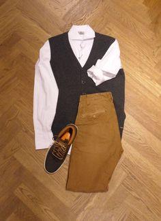 Set van de dag: Scotch & Soda  Gilet: Atelier Scotch Overhemd: Atelier Scotch Broek: Scotch & Soda Schoenen: Timberland