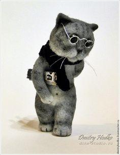 Купить кот с газетой, валяная игрушка - валяная игрушка, шерсть, фелтинг, авторская игрушка, коты