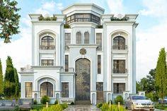 Mohamed Al Aiar - Facade - Private Villa (1) Classic House Exterior, Classic House Design, Modern Exterior House Designs, Dream House Exterior, House Outside Design, House Front Design, Castle House Plans, Bungalow House Design, Villa Design