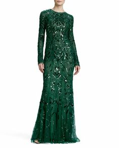 Beaded & Embroidered Long-Sleeve Gown  by Monique Lhuillier at Neiman Marcus. ~ Lovely in Loki Green =D