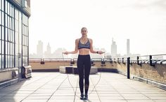 This is your solid base move. Once you master this jump rope skill you can move onto more advanced moves. http://www.thecoveteur.com/jump-rope-workout-natalie-uhling/