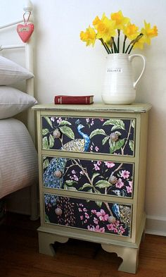 Hand painted shabby chic mahogany drawers - peacock paper fronts, ceramic knobs, lined drawers - so pretty!