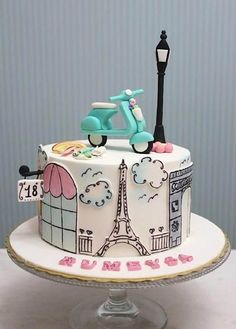 Vespa+Paris+-+Cake+by+asli …You can find Paris cakes and more on our website.Vespa+Paris+-+Cake+by+asli … Gorgeous Cakes, Pretty Cakes, Cute Cakes, Amazing Cakes, Fondant Cakes, Cupcake Cakes, Fondant Cake Designs, Bolo Paris, Paris Cakes
