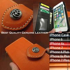 100% Handmade! Well-made by leather craftsmen by hand !   Genuine cowhide leather iPhone 6,6s,7/6,6s,7 Plus Flip Case Orange WILD HEARTS Leather&Silver(ID ip3262)  http://global.rakuten.com/en/store/auc-wildhearts/item/ip3262/