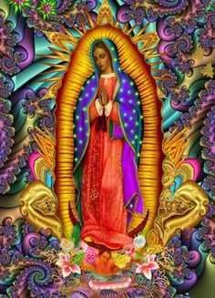 Colorful Our Lady of Guadalupe Divine Mother, Mother Mary, Religious Icons, Religious Art, Madonna, Lady Guadalupe, Spiritual Images, Queen Of Heaven, Mama Mary