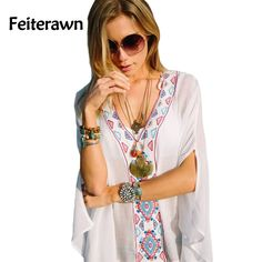 Feiterawn 2017 Summer Women Batwing Sleeves Loose Fit Tunic Embroidered V Neck Flowy White Sexy Kaftan Beach Dress MX316 #Affiliate
