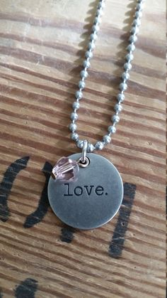 Valentines LOVE Inspirational Round Word Pendant Ball Chain Necklace. Stamped quotes, inspirational jewelry, love jewelry, gifts under 10 by LoveTheJunk on Etsy