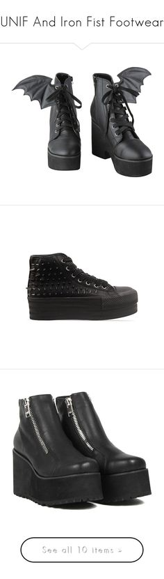 """""""UNIF And Iron Fist Footwear"""" by creaturefeaturerules ❤ liked on Polyvore featuring shoes, sneakers, purple, boots, heels, heeled boots, platform shoes, laced up heel boots, lace up heeled shoes and lace up shoes"""