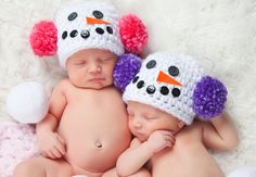 Twin Girl Baby Hats Photo Prop Winter Photography by TSBPhotoProps