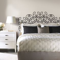Make your own #DIY headboard in minutes with removable headboard wall decals designed by @notneutralpin.