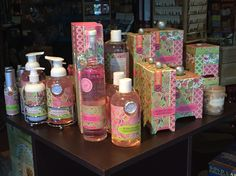 The full a tutti Frutti collection of soaps, lotions, candles, bubble bath and more. #Easter #Spring From Michel Design Works, available at Memento Gift Shop downtown #PalmSprings 769-325-1963