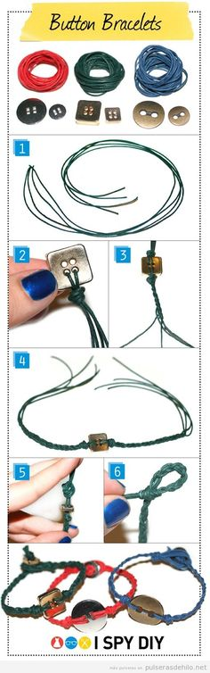 Tutorial para hacer una pulsera fácil con botones e hilos