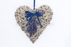 blue ribbon wicker heart