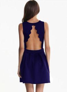 Custom Made Blue Sleeveless Homecoming Dress,Sexy Backless Pleated Dress,Blue Mini Prom Dress