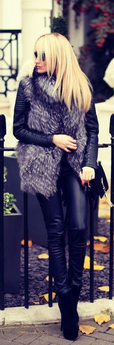 Fur Vest + Leather Jacket + Skinnies | Street Style
