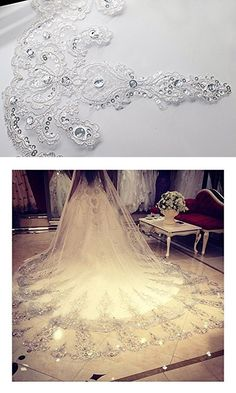 Foreverwedding Women's Custom Lace Crystals Edge 3M Length Wedding Bridal Veil With Comb Ivory