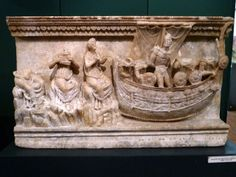 Museo Etrusco Guarnacci. Etruscan cinerary urn (alabaster). Ulysses and the Sirens.
