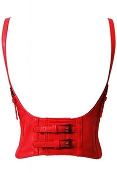 SGY Fashion Faux Leather Steampunk Sexy Underbust Waist Belt Corset (Red) *** Check out @