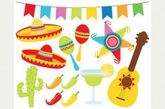 This CINCO DE MAYO clipart has maracas, flag bunting, sombrero hats, pinata… Clipart, Royal Icing Transfers, Margarita Cocktail, Ecole Art, Flag Vector, Mexican Party, Happy Planner, Doodles, Digital