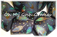 "3"" GLITTER PEACOCK FEATHERS BOHO CHEER DESIGNER GROSGRAIN RIBBON FOR BOW BLACK"