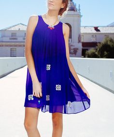 Take a look at this Blue Pleated Embroidered Shift Dress on zulily today!WOW ORDER NOW USE THIS LINK https://www.zulily.com/invite/vvartanian929