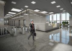 Projekt strefy wejściowej  w biurowcu Warszawa / The project of an entrance area in an office building in Warsaw