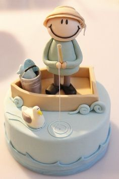 Q cosa bella! Fisherman Cake by AliceInSugarland Pretty Cakes, Cute Cakes, Beautiful Cakes, Amazing Cakes, Baby Cakes, Sweet Cakes, Fondant Cakes, Cupcake Cakes, Fisherman Cake