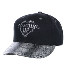 2077d18c87194 Cowgirl Up Womens Black Cotton Faux Snakeskin Barbed Wire Heart Ball Cap