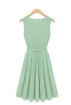 Zehui Women's Sleeveless Chiffon Vest Pleated Dress $13.04