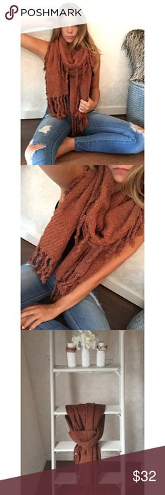 {{New}} Fringed out scarf O m g; the new fringed out scarf is oversized && super unique with its braided tassels! It is long && wide, a perfect statement accessory needed in your wardrobe. This is a timeless piece and SO adorable on, you'll fall in love the second you put it on !   •Rust color •100% Acrylic//NOT itchy  •OS/Price is firm Accessories Scarves & Wraps