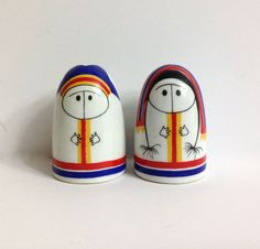 Vintage Arabia Finland Lappalainen Eskimo Salt and Pepper Shakers by Esteri Tomula by MidCenturyMary on Etsy https://www.etsy.com/listing/220954396/vintage-arabia-finland-lappalainen