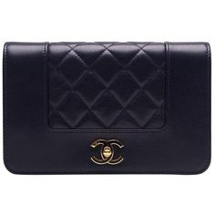 Preowned Chanel Navy Leather Mademoselle Vintage Style Wallet On Chain... ($3,300) ❤ liked on Polyvore featuring bags, blue, navy blue bag, chain bag, navy bag, flap bag and chanel